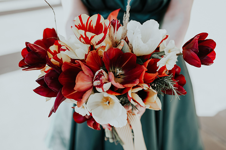 Tulip Bouquet Flowers Bride Bridal Spring Whimsical All The Colours Quirky Dinosaur Wedding https://leahlombardi.com/