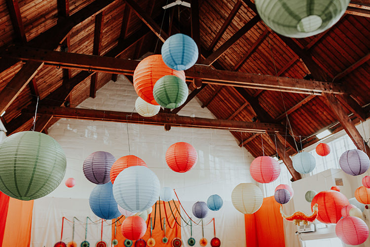Hanging Multicolour Lanters All The Colours Quirky Dinosaur Wedding https://leahlombardi.com/