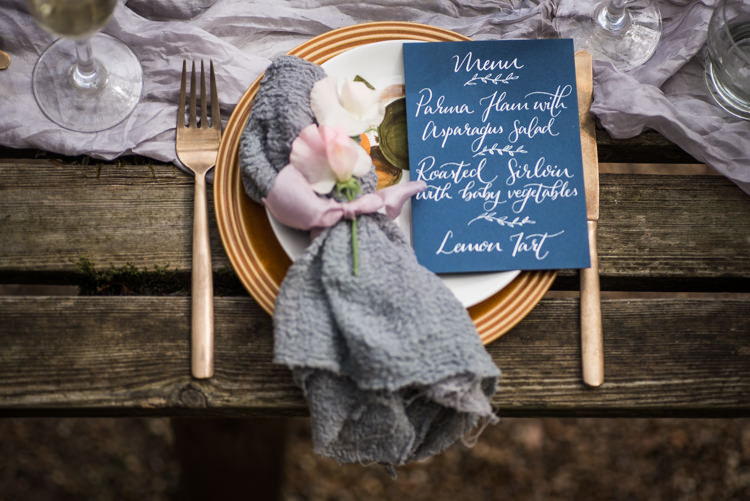 Place Setting Decor Stationery Calligraphy Gold Blue Grey First Look Wedding Ideas Country Estate Garden http://annamorganphotography.co.uk/