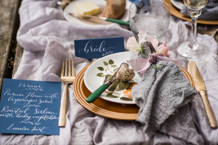 Place Setting Decor Stationery Calligraphy Gold Blue Grey Slk First Look Wedding Ideas Country Estate Garden http://annamorganphotography.co.uk/