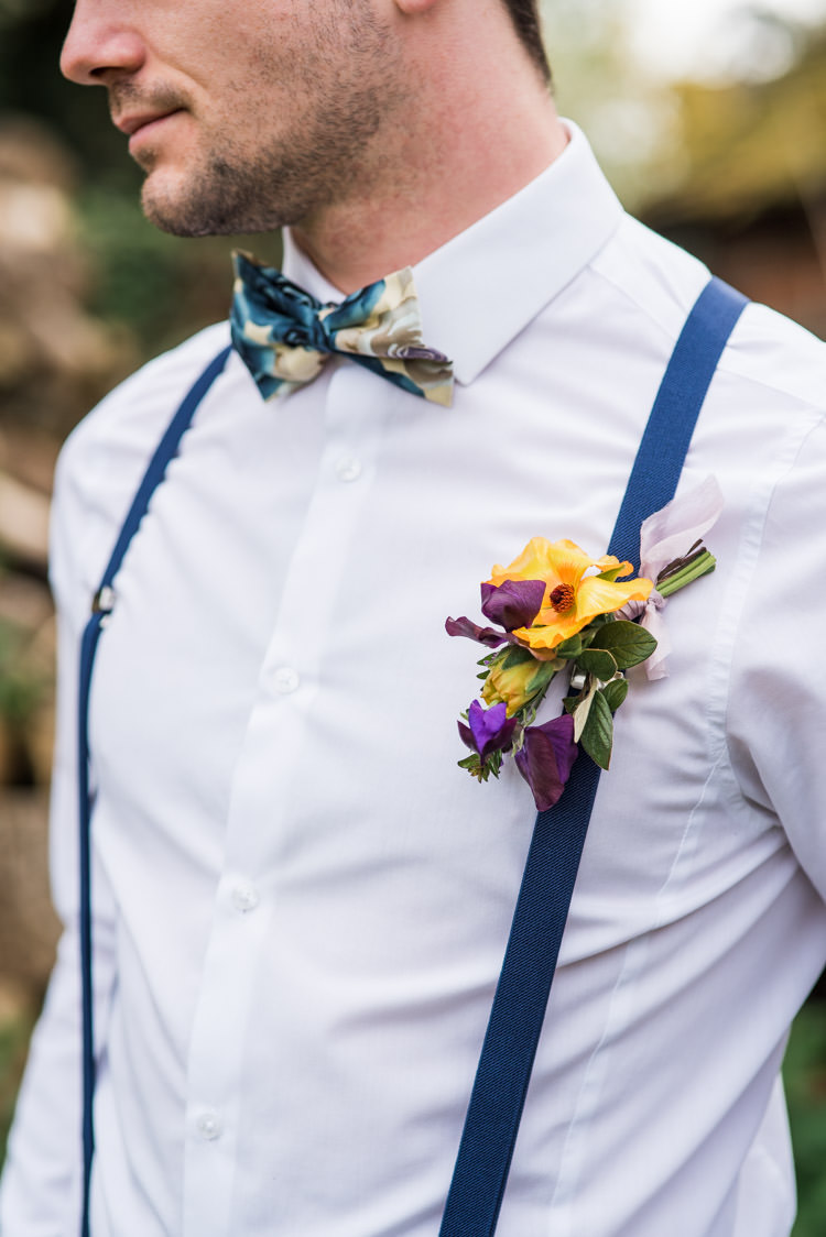 Buttonhole Yellow Purple Print Bow Tie Braces Groom Style Outfit Attire First Look Wedding Ideas Country Estate Garden http://annamorganphotography.co.uk/
