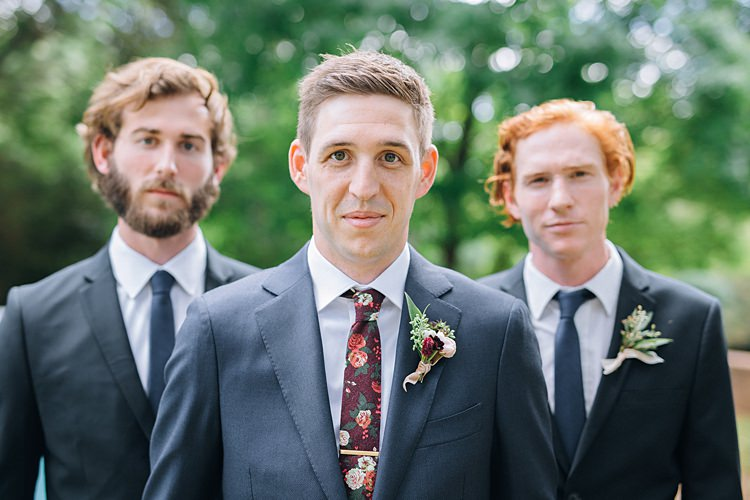 Groomsmen Navy Suits Bohemian Outdoor Greenery Wedding Georgia http://www.sowingclover.com/