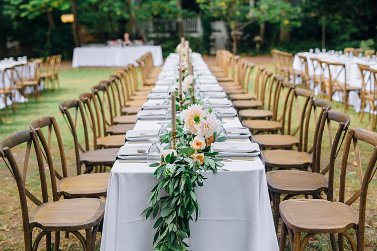 Tables Banquet Centre Piece Candles Bohemian Outdoor Greenery Wedding Georgia http://www.sowingclover.com/