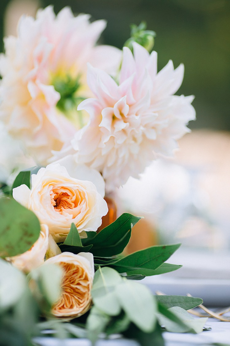 Roses Table Decoration Bohemian Outdoor Greenery Wedding Georgia http://www.sowingclover.com/