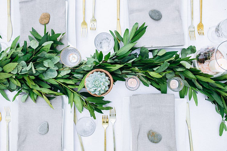 Aerial Gold Plants Table Decoration Bohemian Outdoor Greenery Wedding Georgia http://www.sowingclover.com/