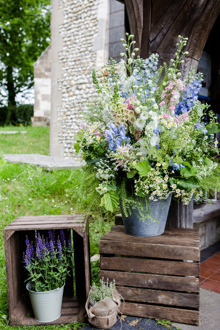 Wooden Crate Lavender Hessian Twine Flowers Floral Foliage Stocks Foxglove Pastel Steel Pail Bucket Pretty Relaxed Lavender Country Wedding http://www.lydiastampsphotography.com/