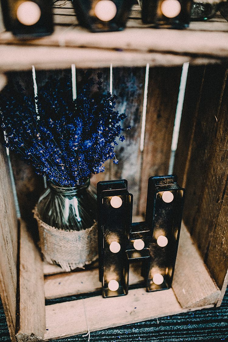 Crate Decor Lavender Lights Woodland Lavender Spring Country Wedding http://www.carlablainphotography.co.uk/