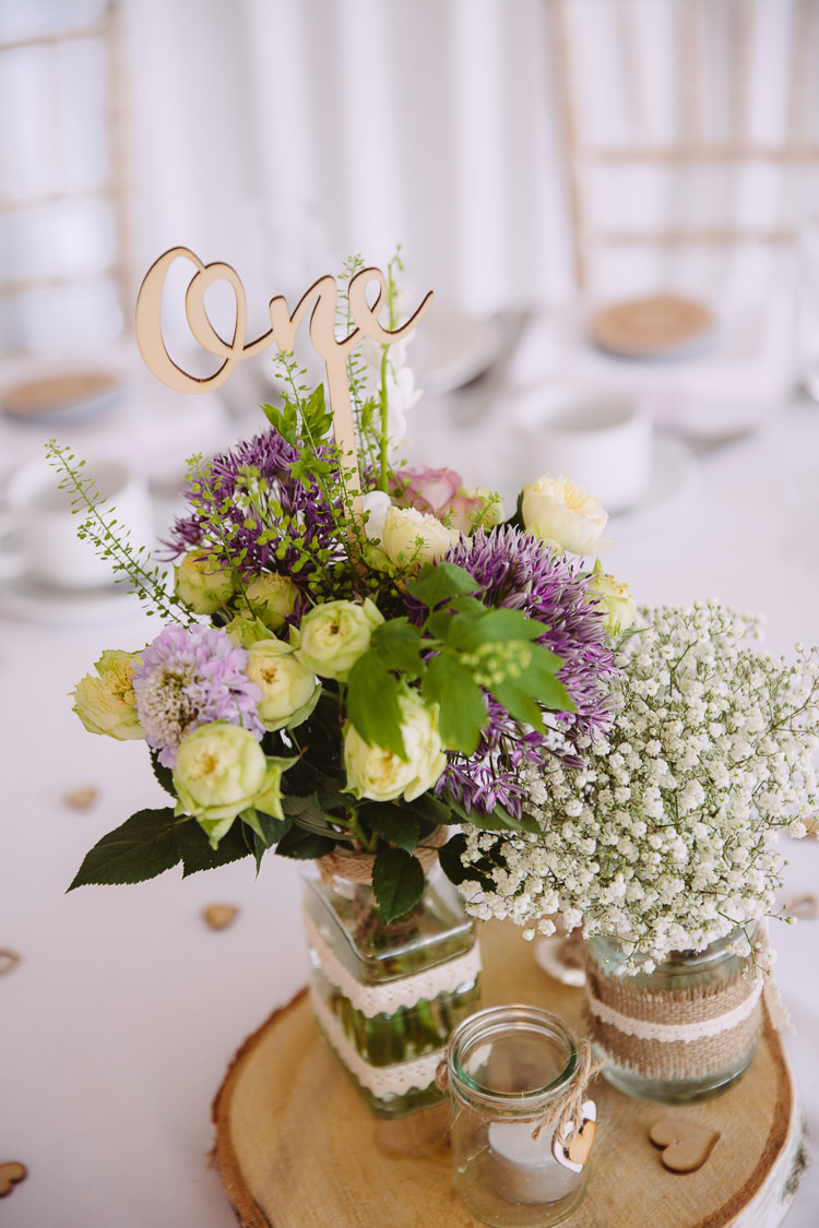 Wooden Table Number Centrepiece Flowesrs Jars Romantic Soft Pastel Pretty Wedding http://hayleybaxterphotography.com/