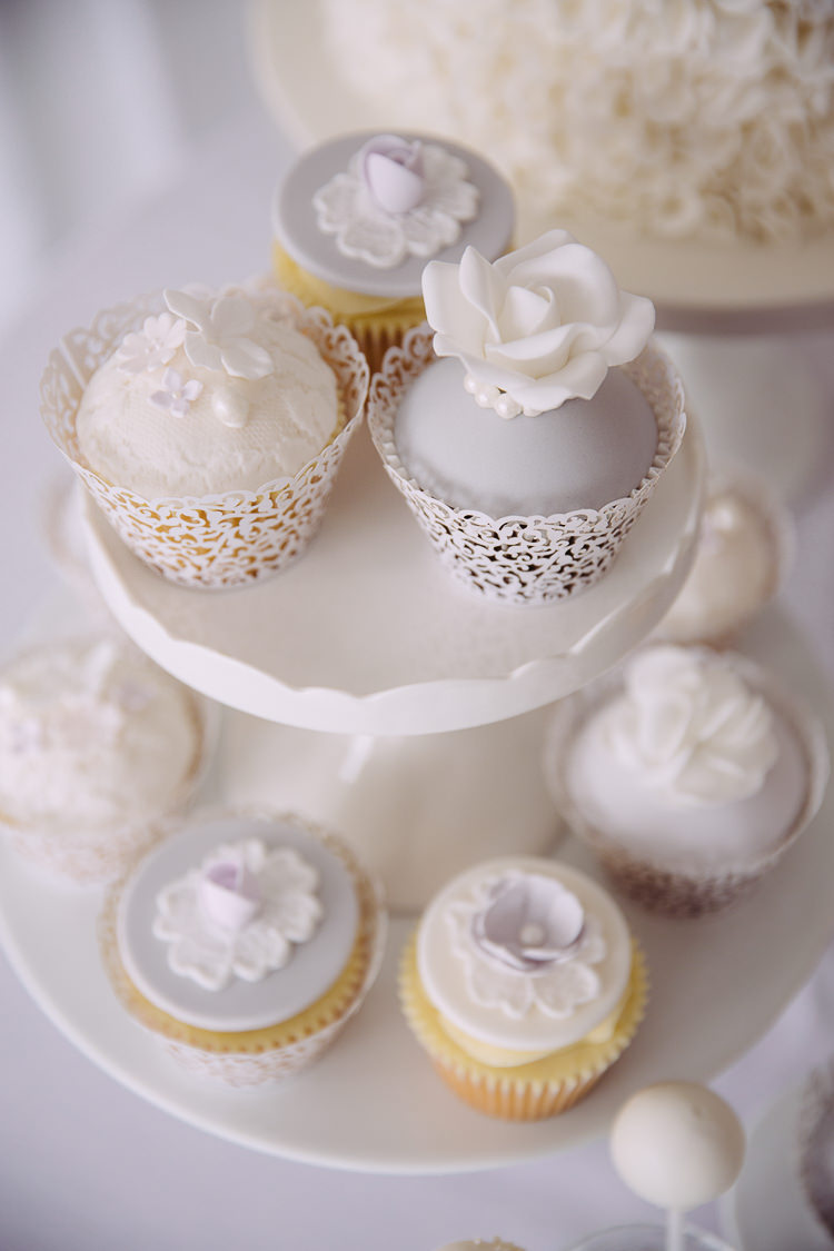 Grey White Cup Cakes Dessert Romantic Soft Pastel Pretty Wedding http://hayleybaxterphotography.com/