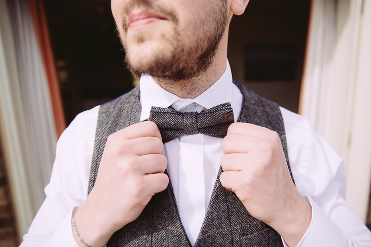Tweed Bow Tie Groom Romantic Soft Pastel Pretty Wedding http://hayleybaxterphotography.com/