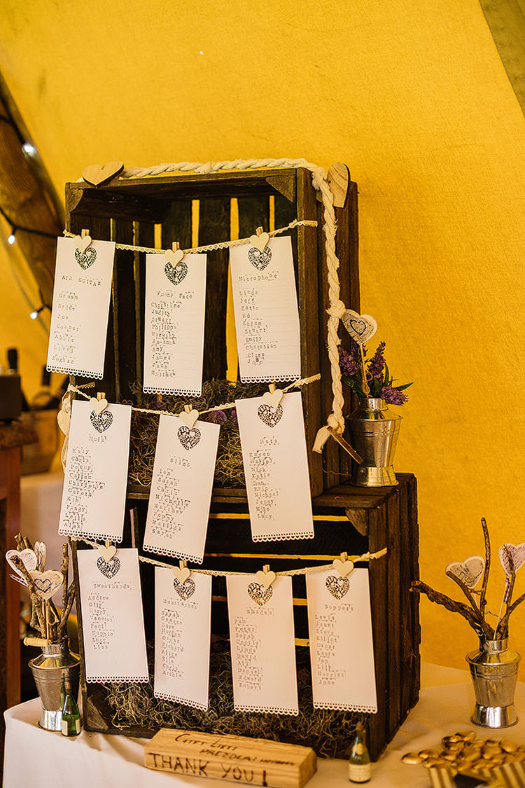 Wooden Crate Peg Seating Plan Table Chart Charming Natural Countryside Tipi Wedding http://www.pauljosephphotography.co.uk/