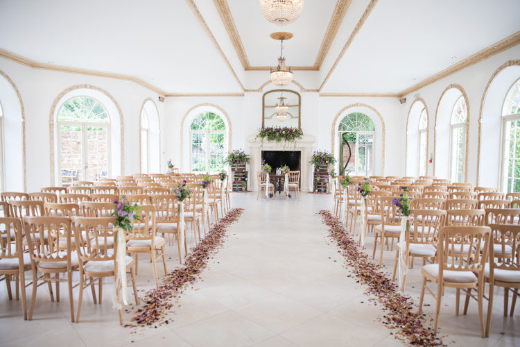 Northbrook Park Ceremony Room Petals Flowers Confetti Summer Festival Country Estate Wedding http://kerryannduffy.com/