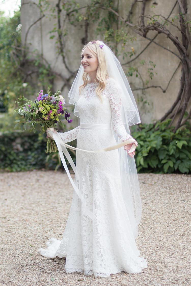 Lace Sleeves Bride Bridal Dress Gown Ribbon Bouquet Summer Festival Country Estate Wedding http://kerryannduffy.com/