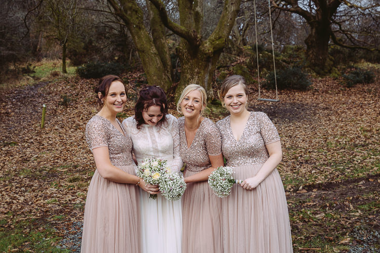 Glitter Sequin Top Bridesmaid Dresses Blush Simple Cosy Country Winter Wedding http://hayleybaxterphotography.com/
