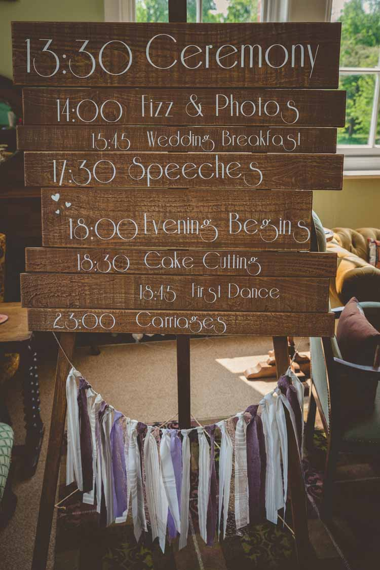 Sign Signage Order of Day Programme Wooden Ribbon Tassels Eclectic Floral Fun Wedding http://www.photographybypaloma.co.uk/