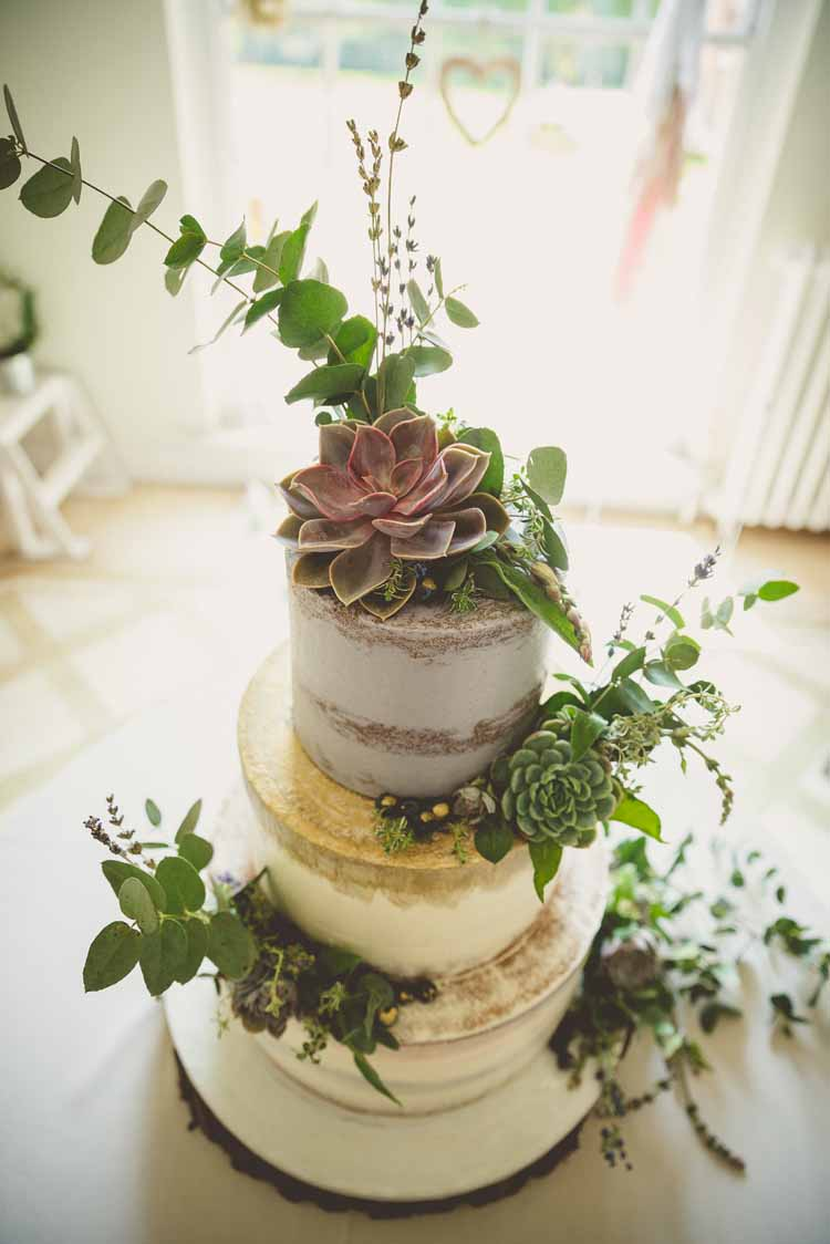 Cake Semi Half Naked Foliage Succulents Lavender Gold Eclectic Floral Fun Wedding http://www.photographybypaloma.co.uk/