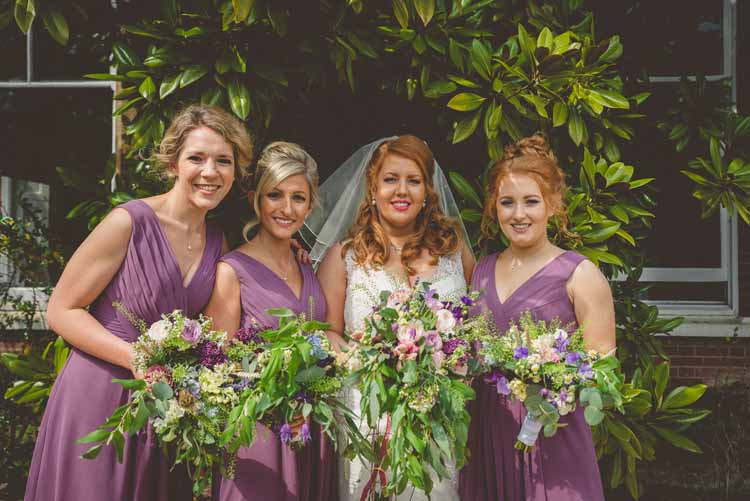 Brides Bridal A Line Veil Sweetheart Bouquet Trailing Champagne Lace Sexyher Bridesmaids Pink Purple Eclectic Floral Fun Wedding http://www.photographybypaloma.co.uk/