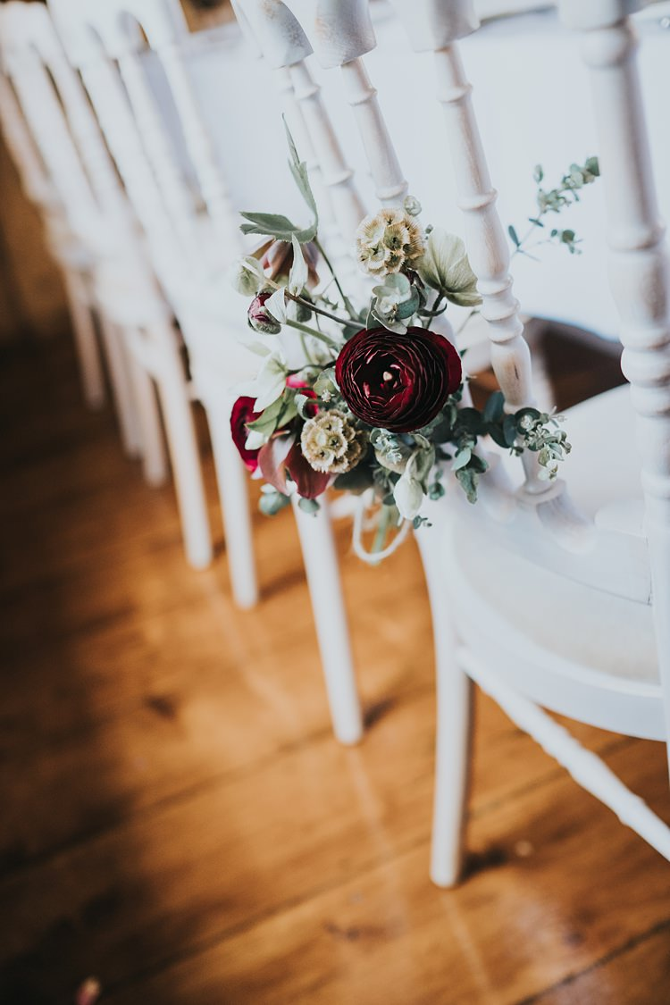 Chair Flowers Seed Heads Red Foliage Burgundy Blush Minimal Elegant Barn Wedding http://www.rosshurley.com/