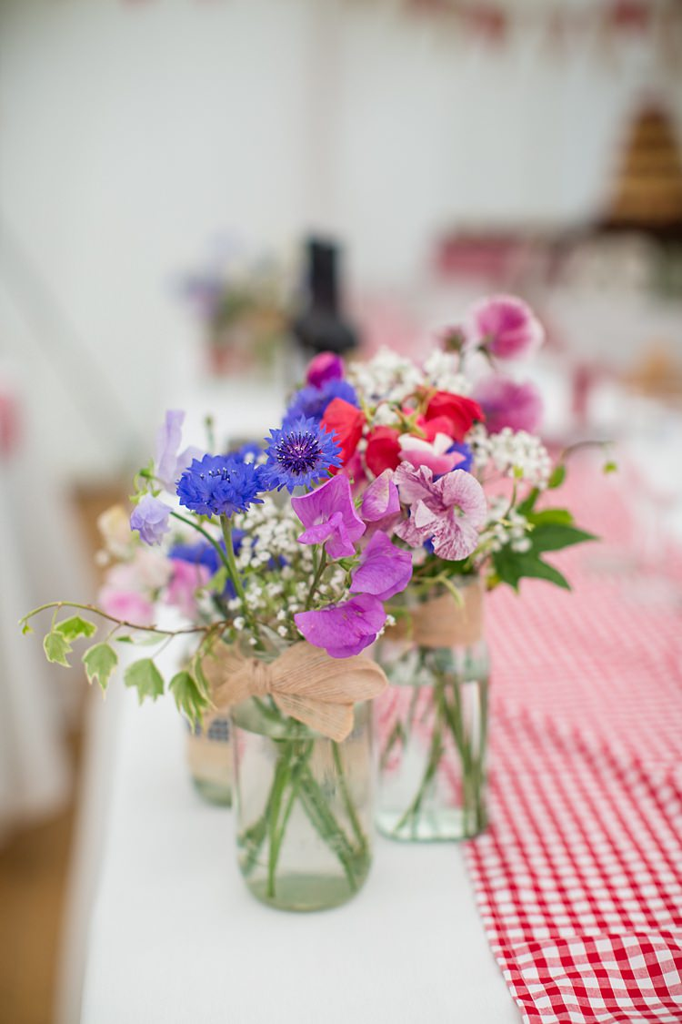 Jar Flowers Sweet Peas Cornflowers Country Rustic Picnic Marquee Wedding https://www.binkynixon.com/