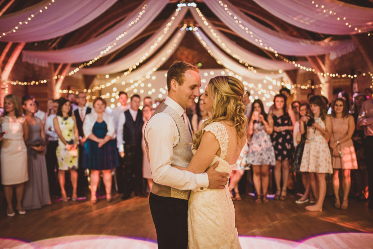 First Dance Pea Lights Fairy Lights Maggie Sottero Barn Enchanting Woods Inspired Country Wedding http://alexapenberthy.com/