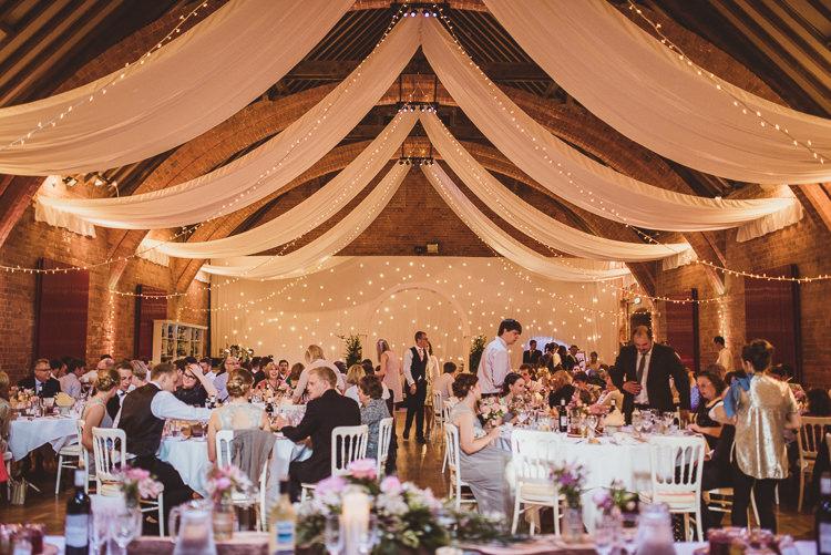 Drapes Pealights Fairylights Barn Enchanting Woods Inspired Country Wedding http://alexapenberthy.com/