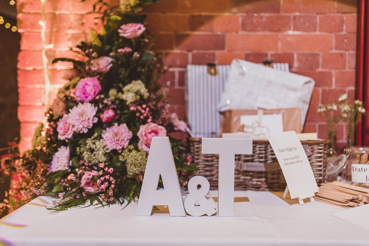 Guestbook Card Table Hamper Letters Floral Flowers Rose Peony Enchanting Woods Inspired Country Wedding http://alexapenberthy.com/