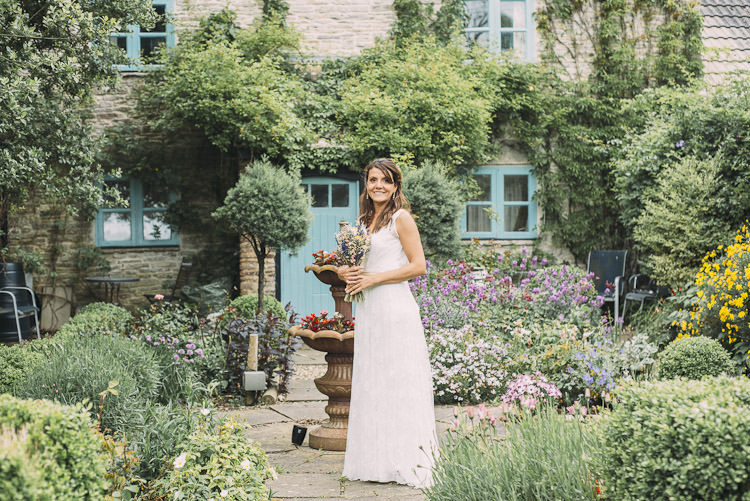 Bride Bridal Charlie Brear Dress Gown Sleeveless Overlay Dried Flower Bouquet Fun Laid Back DIY Rustic Marquee Wedding http://www.louisegriffinphotography.com/