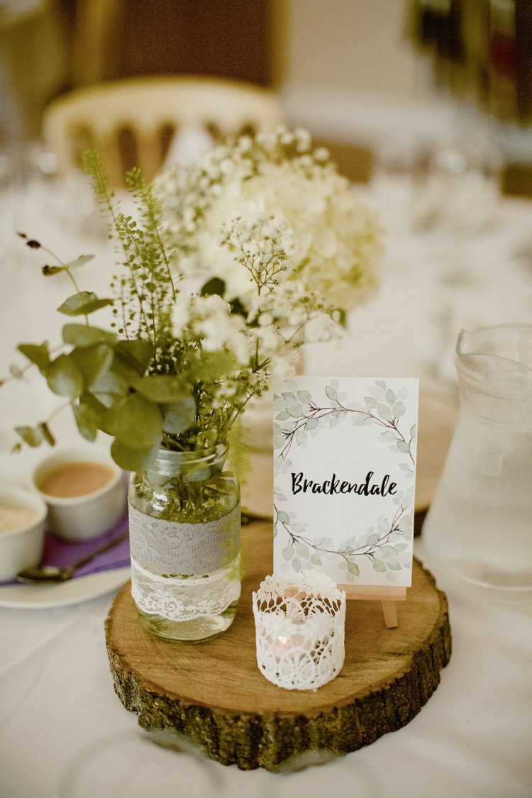 Centrepiece Decor Table Flowers Jar Log Nostalgic Playful Greenery Floral Garden Wedding http://jesspetrie.com/