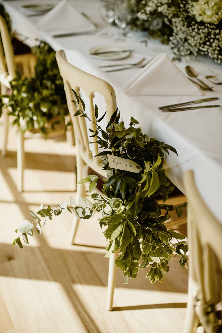 Chair Flowers Foliage Decor Nostalgic Playful Greenery Floral Garden Wedding http://jesspetrie.com/