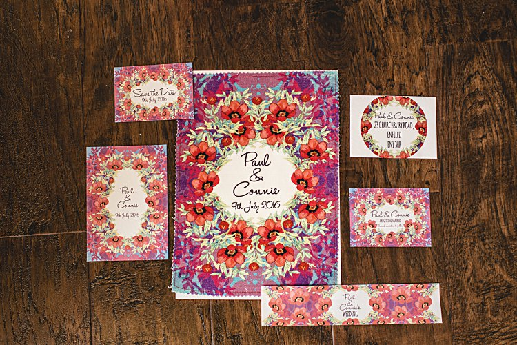 Floral Poppy Stationery Invites Invitations Colourful Home Made Vintage City Wedding http://kat-hill.com/