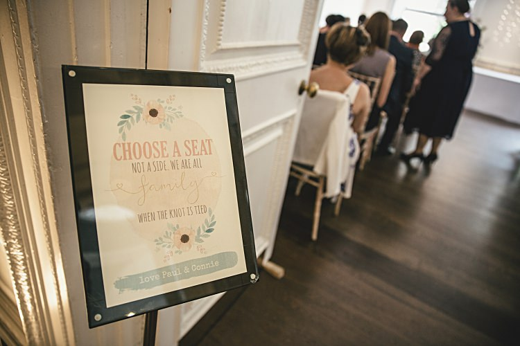 Choose a Seat Not a Side Ceremony Sign Colourful Home Made Vintage City Wedding http://kat-hill.com/