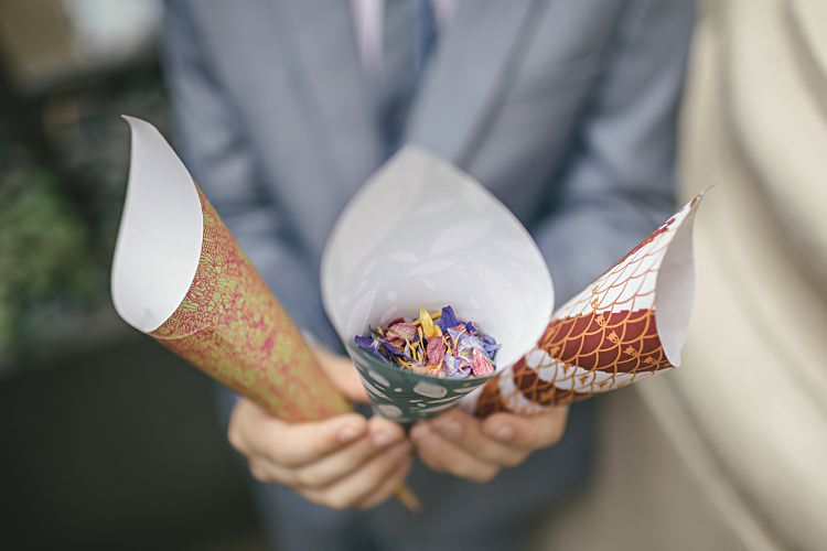 Confetti Cones Colourful Home Made Vintage City Wedding http://kat-hill.com/