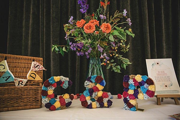 Pom Pom Letters Decor Colourful Home Made Vintage City Wedding http://kat-hill.com/