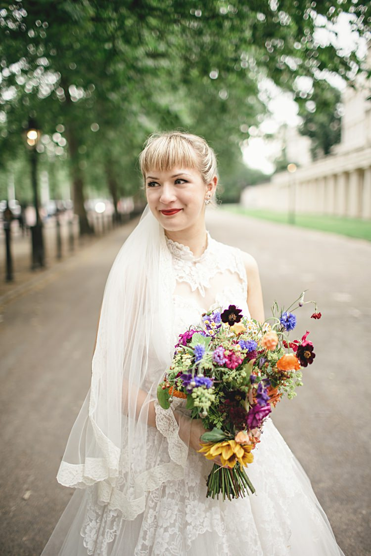 Lace Veil Bride Bridal Colourful Home Made Vintage City Wedding http://kat-hill.com/