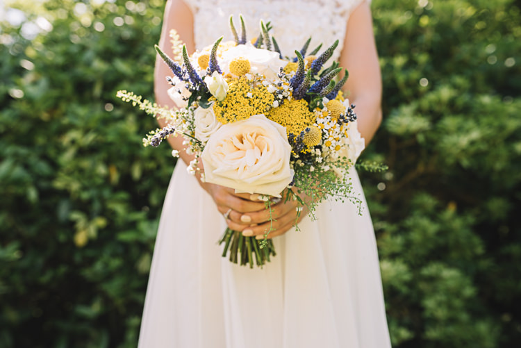 Yellow Purple Flowers Bride Bridal Rose Daisy Billy Ball Rustic Boho Summer Tipi Wedding https://www.luciewatsonphotography.com/