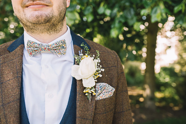 Floral Bow Tie Groom Rose Buttonhole Rustic Boho Summer Tipi Wedding https://www.luciewatsonphotography.com/