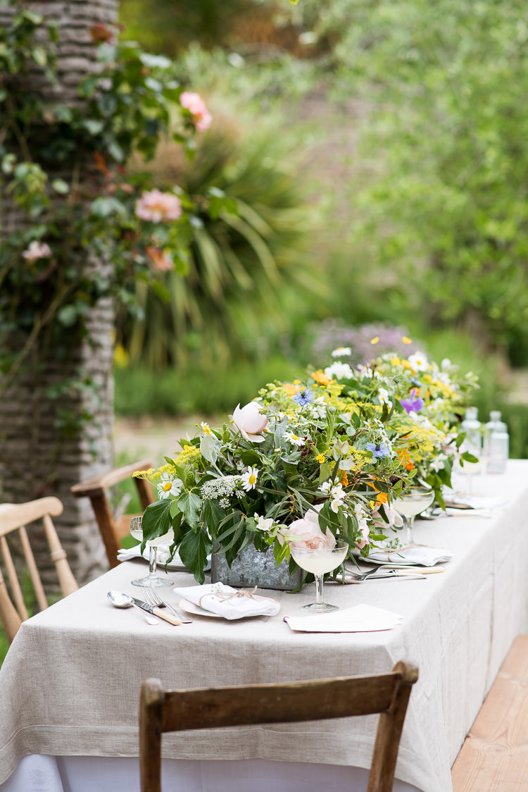 Galvanised Metal Steel Trough Rose Greenery Daisy Herbs Coupe Glass Table Setting Pretty Urban Nature Wedding Ideas http://www.fionasweddingphotography.co.uk/