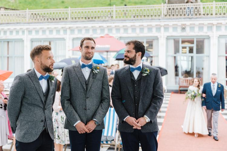 Grey Tweed Suit Chinos Bow Tie Groom Groomsmen Whimsical Wedding Sea Rustic Barn http://sugarbirdphoto.co.uk/