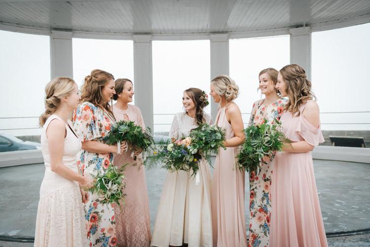 Mismatched Long Maxi Bridesmaid Dresses Whimsical Wedding Sea Rustic Barn http://sugarbirdphoto.co.uk/