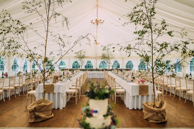Trees Decor Enchanting Cornflower Blue Marquee Wedding https://burfly.co.uk/