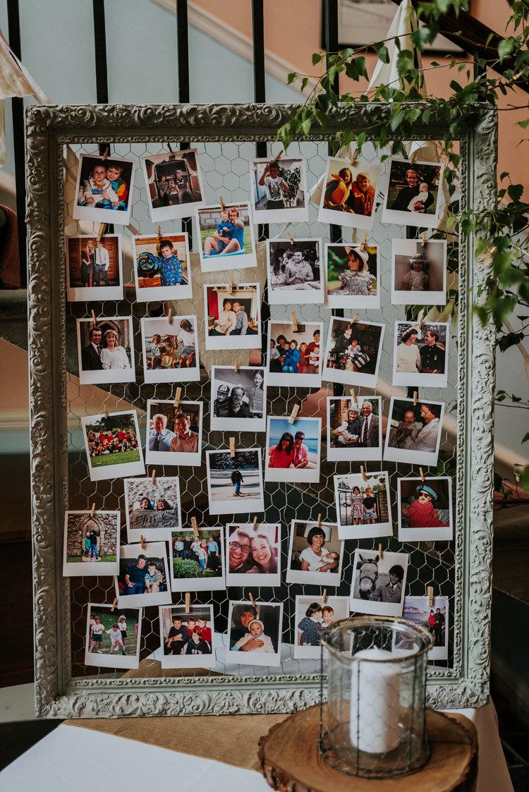 Photo Wall Polariods Frame Enchanting Cornflower Blue Marquee Wedding https://burfly.co.uk/