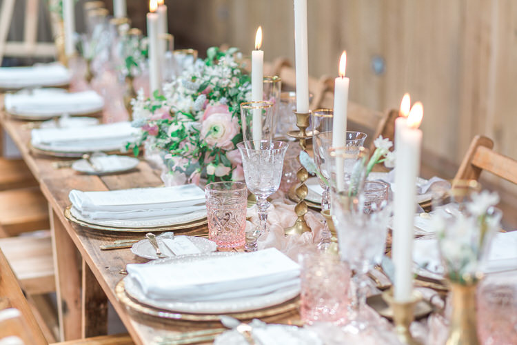 Decor Wooden Rustic Tablescape Fabric Candles Glasses Pink Flowers Ethereal Fine Art William Morris Wedding Ideas http://jessicadaviesphotography.co.uk/