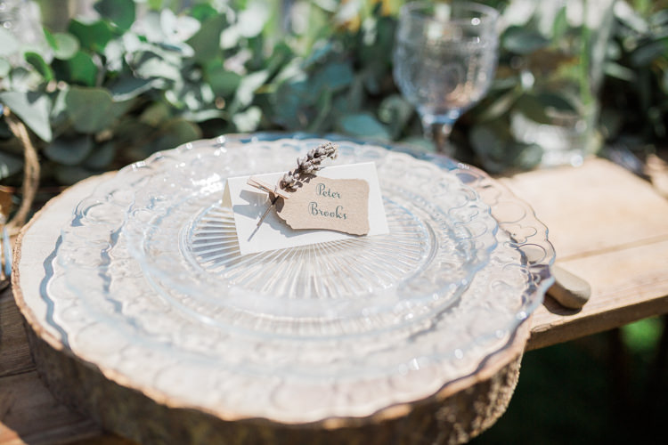 Log Place Setting Glass Plate Rustic Wooden Bohemian Garden Greenery Wedding Ideas http://www.storytellerphotography.co.uk/