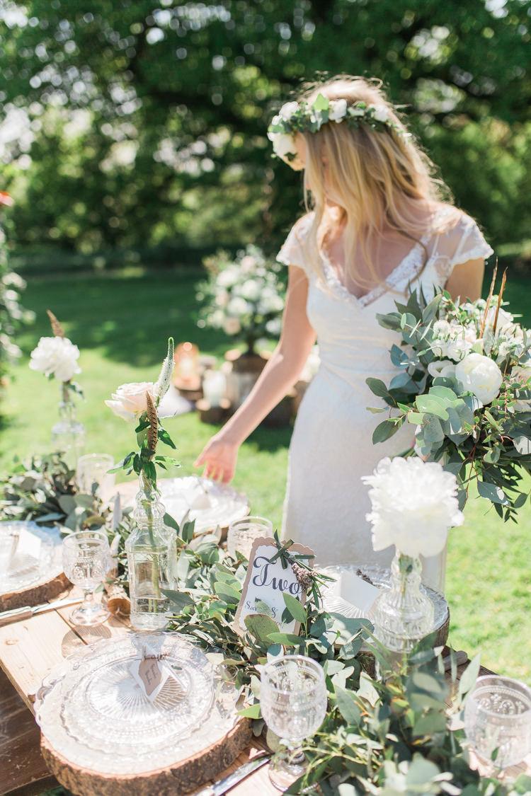 Foliage Swag Garland Table Runner Decor Bottles Flowers Tablescape Bohemian Garden Greenery Wedding Ideas http://www.storytellerphotography.co.uk/