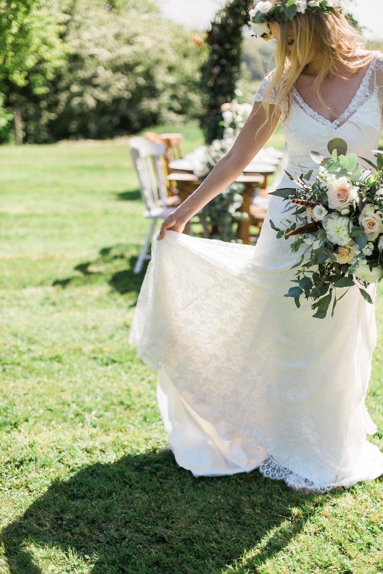 Alfred Angelo Lace Dress Gown Bride Bridal Bohemian Garden Greenery Wedding Ideas http://www.storytellerphotography.co.uk/