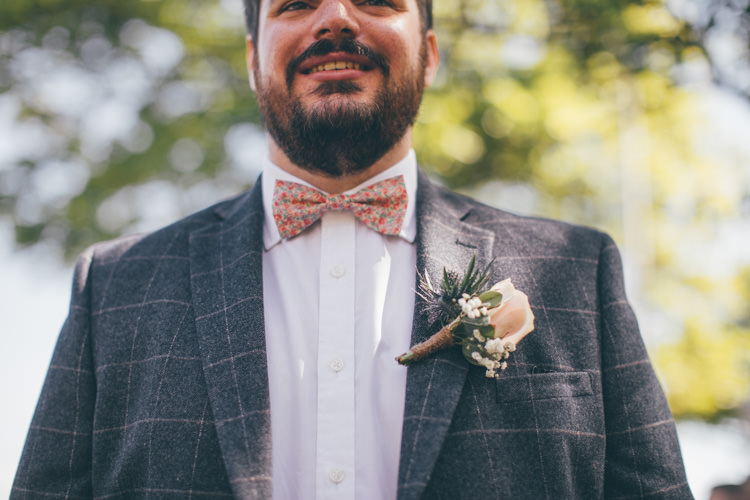 Floral Bow Tie Groom Check Jacket Pretty Pale Pink Scenic Coast Wedding http://rachellambertphotography.co.uk/