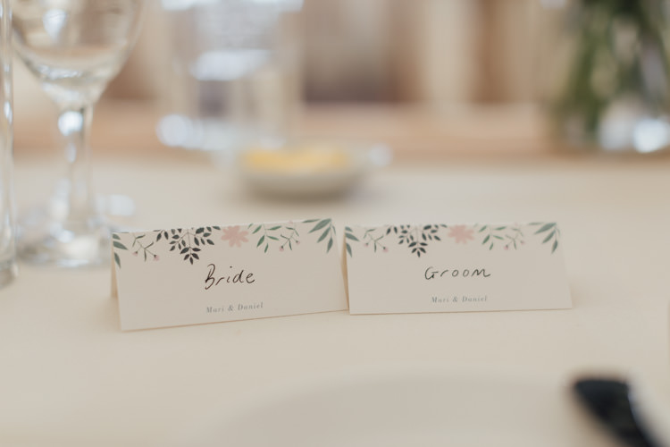 Floral Stationery Place Name Cards Pretty Pale Pink Scenic Coast Wedding http://rachellambertphotography.co.uk/