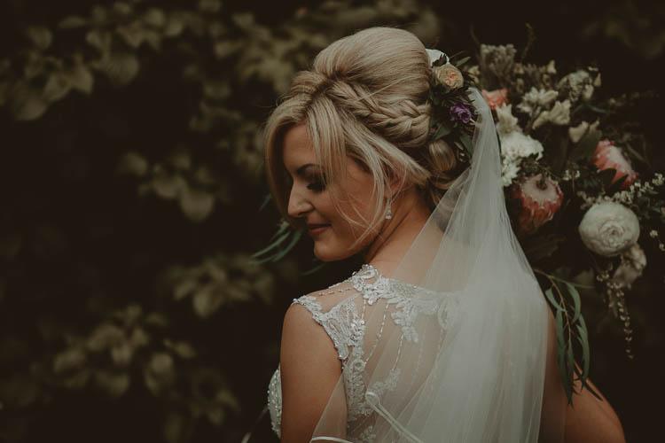 Hair Bride Bridal Plait Braid Flowers Style Up Do Whimsical Modern Rustic Barn Wedding http://photomagician.co.uk/