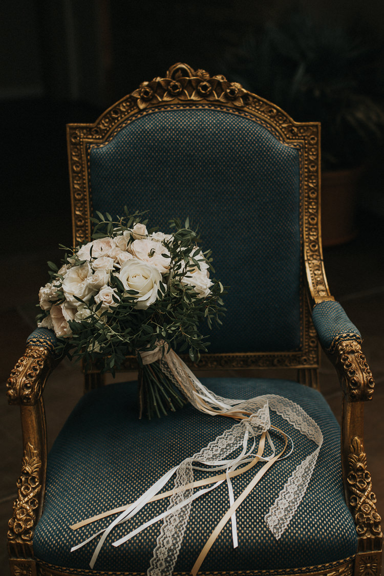 Bouquet Flowers Bride Bridal Cream White Roses Greenery Foliage Ribbons Natural Elegance Asian Fusion Wedding Ideas http://liannegrayphotography.com/