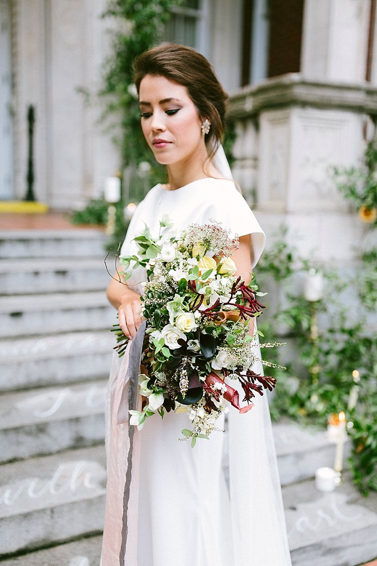 Bride Short Sleeve Plain Dress Long Veil Up Do Bouquet Roses Greenery Modern Elegance Marble Greenery Gold Wedding Ideas http://www.jettwalkerphotography.com/